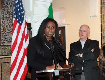 Tawshana Bethea, left, with Ambassador Henry Ensher