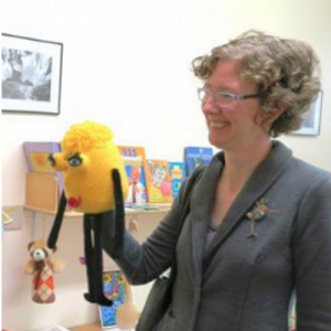 Amy Storrow with hand puppet