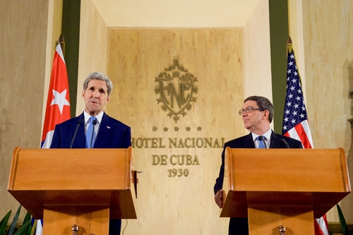 John Kerry and Bruno Rodriguez