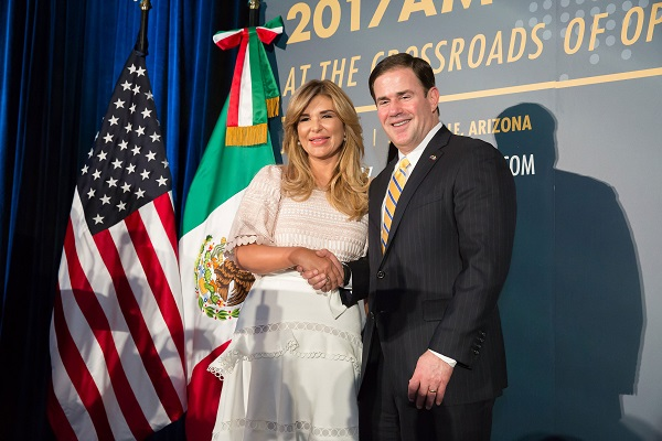 Arizona Gov. Doug Ducey of Arizona and Gov. Claudia Pavlovich of Sonora, Mexico.