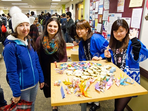 Students learn origami