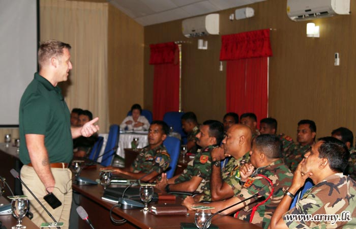 American military officer explains psychological operations to Sri Lankan military in a program sponsored by the U.S. Embassy in Colombo.