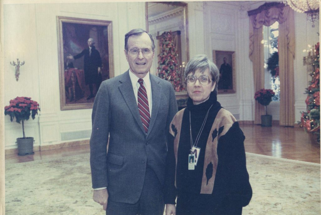 President George H.W. Bush and Marilyn Meyers, December 1989. (White House)