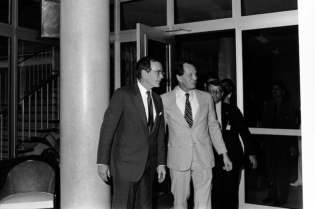U.S. Vice President George H.W. Bush with Ambassador Harry G. Barnes. 1984 (Department of State)